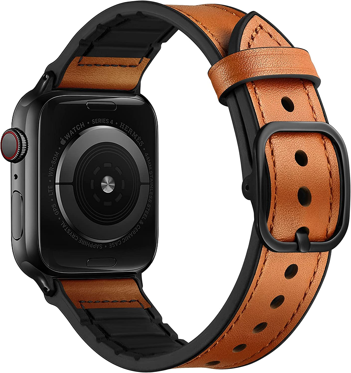 OUHENG Leather Bands Compatible with Apple Watch 44mm 42mm, Genuine Leather and Rubber Sweatproof Hybrid Band Strap Compatible for iWatch SE Series 6 5 4 3 2 1, Light Brown Band with Black Adapter