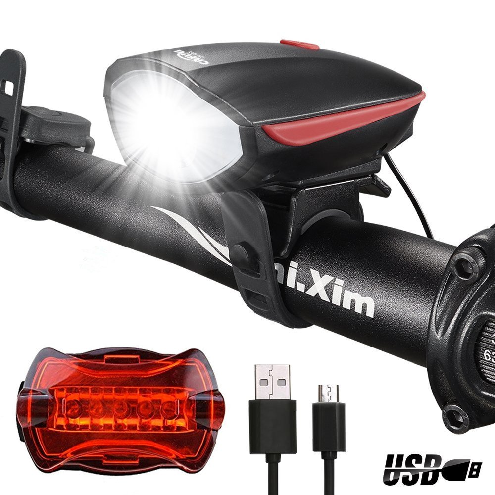 CAFINI USB Rechargeable Bike Light Set,Bicycle Headlight with Super Loud Bike Horn 120 DB,Fits All Bicycles, Hybrid, Road, MTB, Easy Install & Quick Release