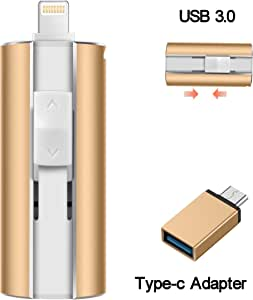 iOS Flash Drive for iPhone Photo Stick 128GB Memory Stick USB 3.0 Thumb Drive Jump Drive Photo Backup iflash External Storage Lightning Memory Stick for iPhone iPad Android