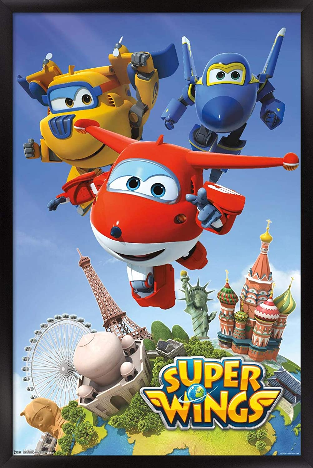22.375 x 34 Black Framed Version Action Wall Poster Trends International Super Wings