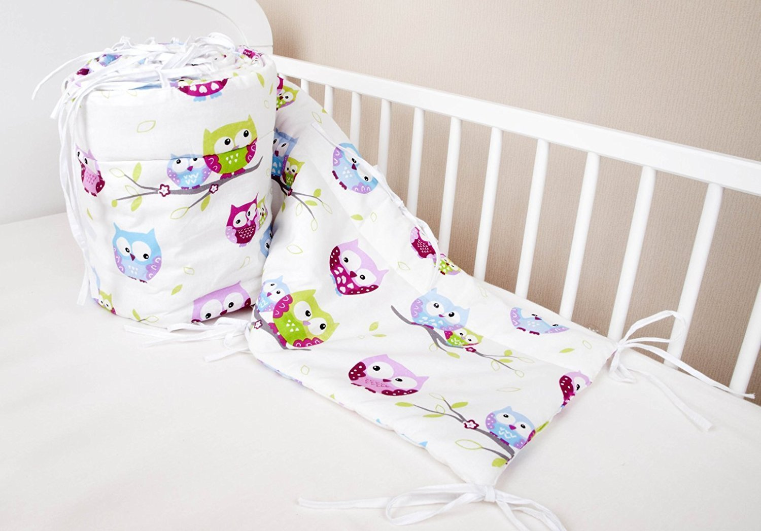 Amilian® Baby Cot Bumper Wrap Around Protection For Baby's Bed With Head Guard 100% hypo-Allergenic 100% Cotton Breathable and non-toxic materials Anti-allergic Baby Owl Print White/Multi-Coloured Available In 3 Sizes (420 cm x 30 cm) (360 cm 30 cm) (180