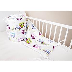 Tour de lit de bébé Protection de tête Blanc à motif chouettes 420 x 30 cm, 360 x 30 cm, 180 x 30 cm