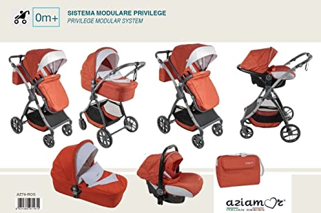aziamor Trio sistema modular para niños cochecito cochecito lanzadera economico ligero colores a elegir rojo