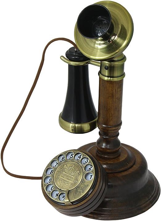 OPIS 1921 Cable - Modelo C - télefono Retro/telefono Fijo Vintage con Cuerpo de Madero, Disco de marcar y Campana metálica: Amazon.es: Electrónica