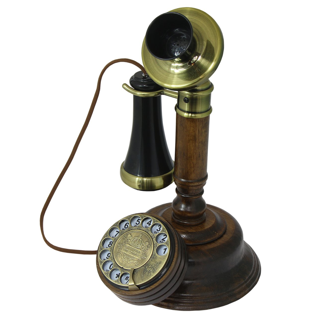 OPIS 1921 CABLE - MODEL C - antique style telephone made from real wood, classic black plastic parts partially gilded with brass - functional rotary dial and classic metal bell by Opis Technology