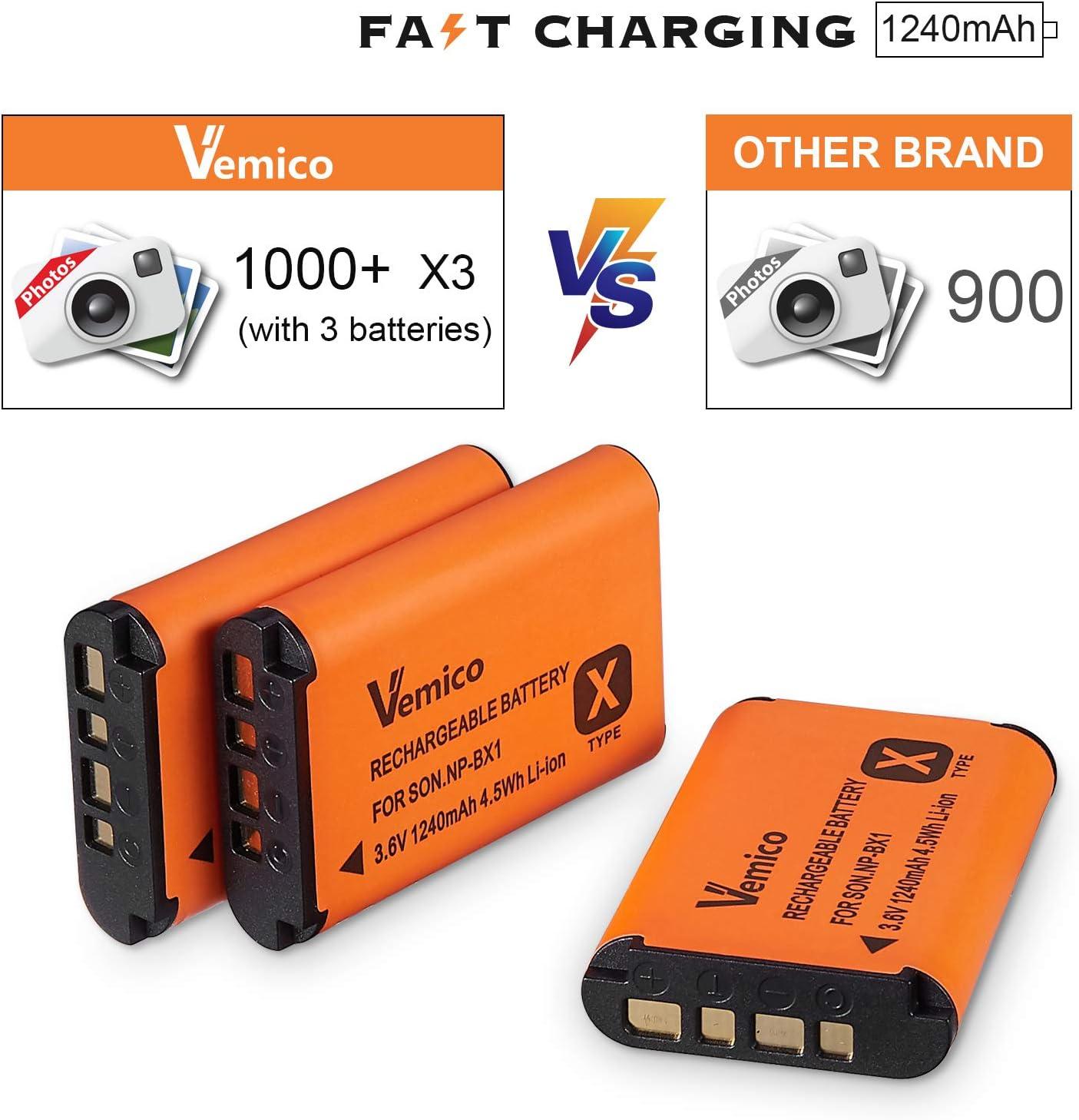 Vemico NP-BX1 Akku Ladeger/ät Satz 3 x 1240mAh Ersatzbatterien LCD Ladeger/ät mit Typ-C-USB f/ür Sony NP-BX1//M8//Cyber-Shot//RX100//RX100 II//RX100M II//RX100 III//RX100 IV//RX100 V//RX100 VII