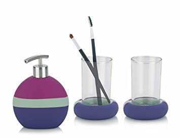 kela saturn 390107 bathroom set 3 piece with 2x cups soap dispenser blackberry