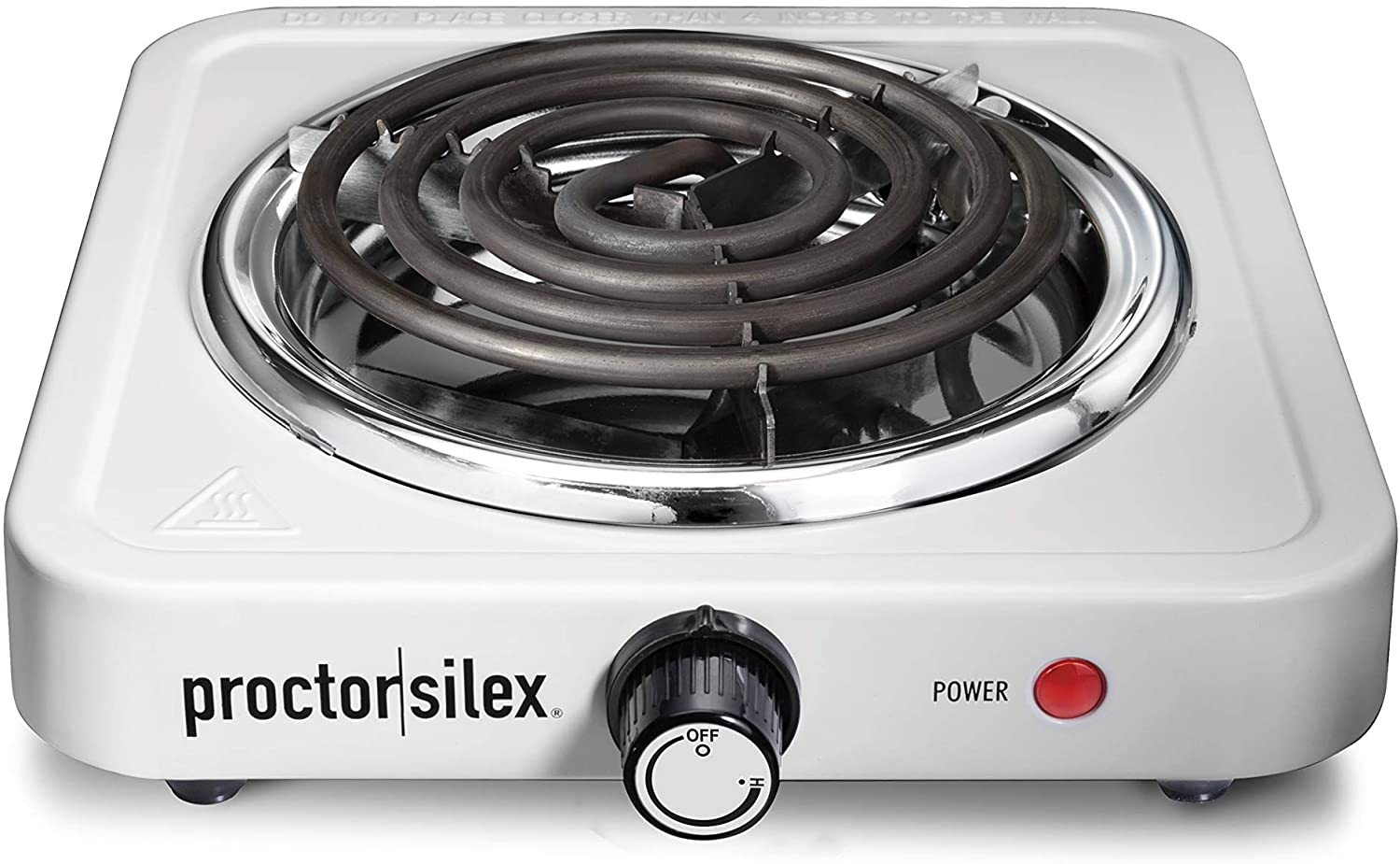 Proctor Silex Electric Single Burner Cooktop, Compact and Portable, Adjustable Temperature Hot Plate, 1200 Watts, White & Stainless (34106)