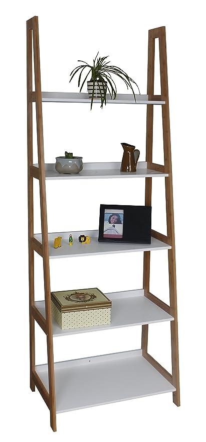 5 Tier Wooden/Bamboo Storage Ladder/Wall Shelf/Ladder Book Shelf