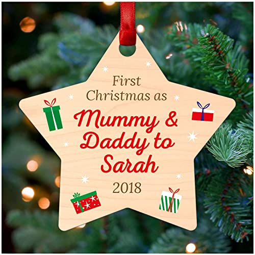 Christmas Gifts For New Parents.Personalised First 1st Christmas As Mummy And Daddy New