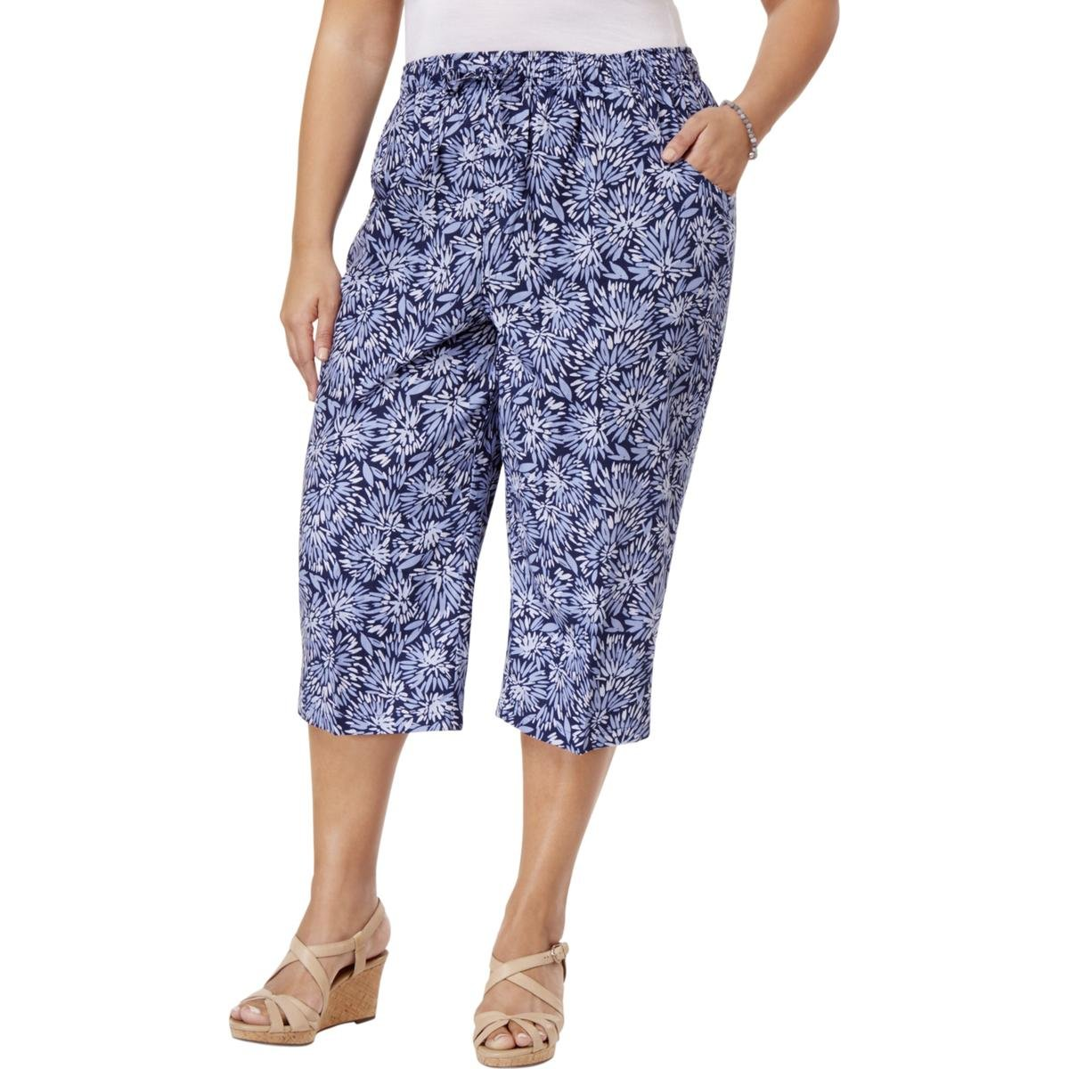 Karen Scott Womens Plus Printed Comfort Waist Capri Pants Blue 2X