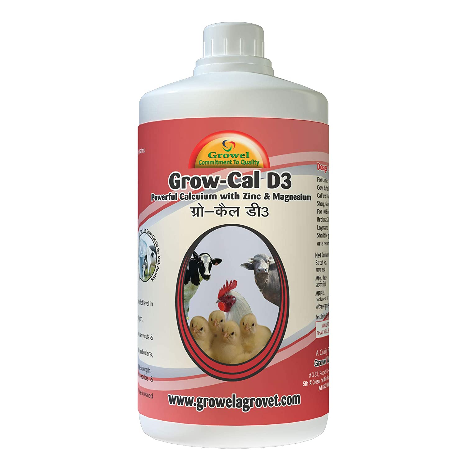 Growel Grow D3 Calcium Tonic for Poultry, Goat, Farm Animals, Cow, Buffalo  and Horse, 1000 ml
