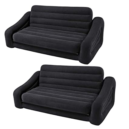 Intex Inflatable Queen Size Pull Out Futon Sofa Couch Bed, Dark Gray (2 Pack