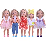 LuckDoll 5 Pcs Set Doll Clothes Outfits Fit for 14.5 inch American Girl Doll Such as Wellie Wishers Doll
