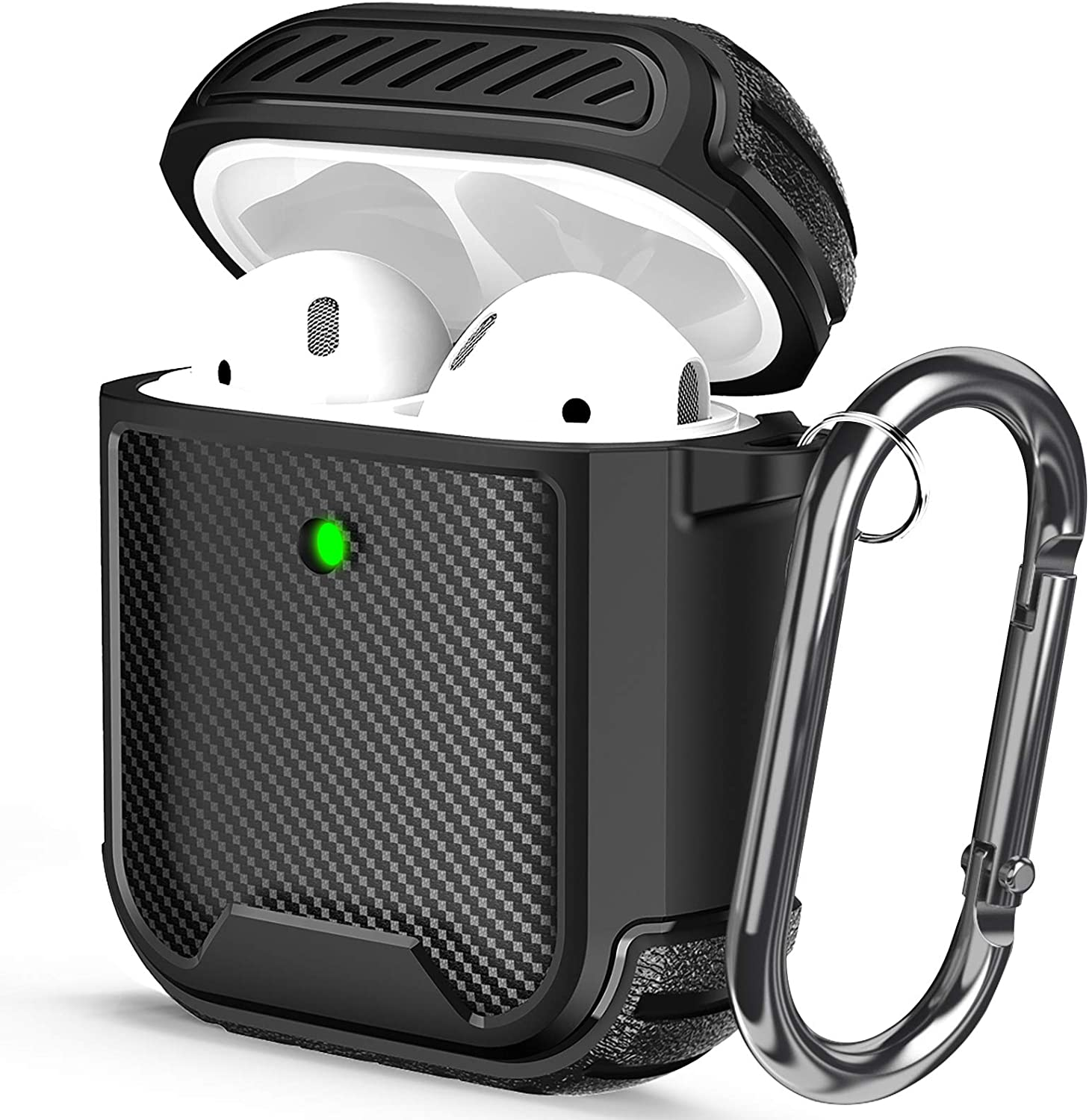 Maxjoy Airpod Case Cover Texture TPU Full-Body Rugged Protective Case for Apple Airpods Case 2 with Carabiner Dustproof Shockproof Wireless Charging Case Front Led Visible (Black)