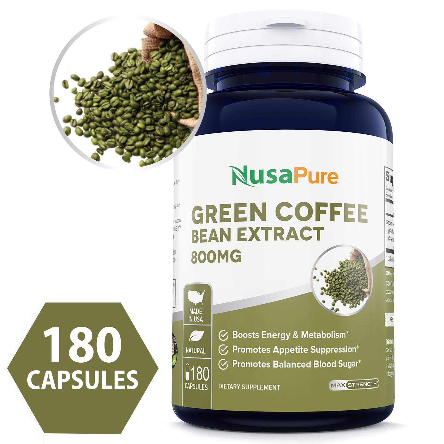 Green Coffee Bean Extract 800mg 180caps (Non-GMO, Gluten Free & 50% Chlorogenic Acid) Max Strength Natural GCA Antioxidant Cleanse for Weight Loss by NusaPure
