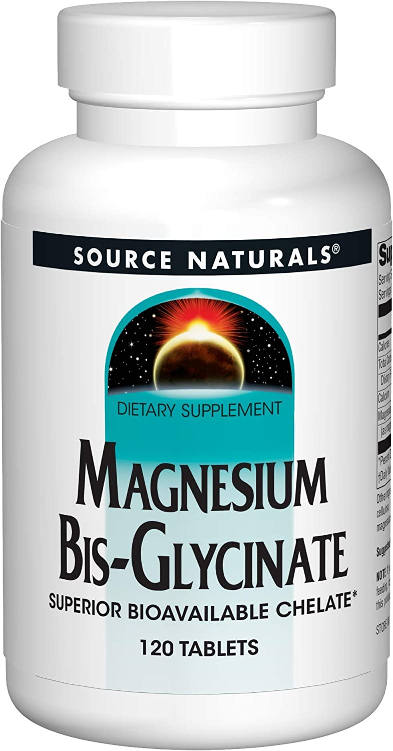 Source Naturals Magnesium Bis-Glycinate - Supports Cardiovascular and Muscle Health - 120 Tablets