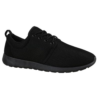 b0242c8426 Stiefelparadies Herren Sport Muster Lauf Übergrößen Sneakers Profilsohle  Blumen Runners Schuhe 136104 Schwarz Total 36 Flandell