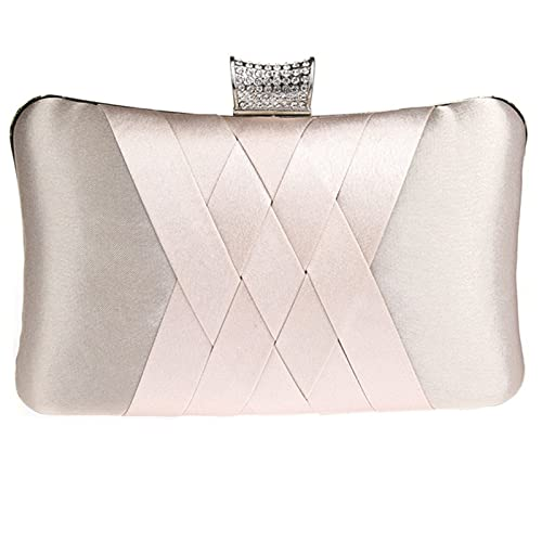986035bfc6 Womens Satin Evening Clutches for Wedding and Party Handbag Purse Apricot  B17