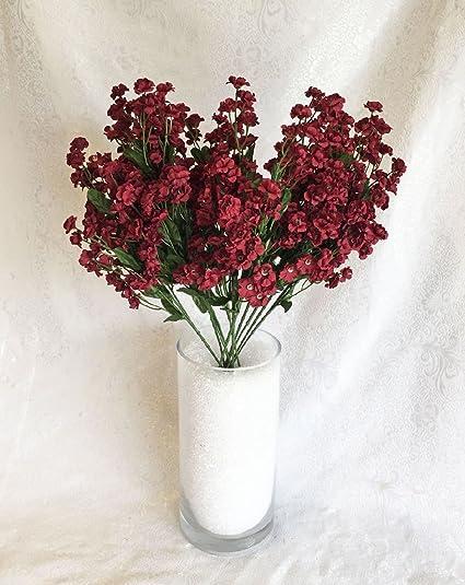 Amazon 12 babys breath burgundy gypsophila silk wedding 12 babys breath burgundy gypsophila silk wedding flowers centerpieces bouquet mightylinksfo