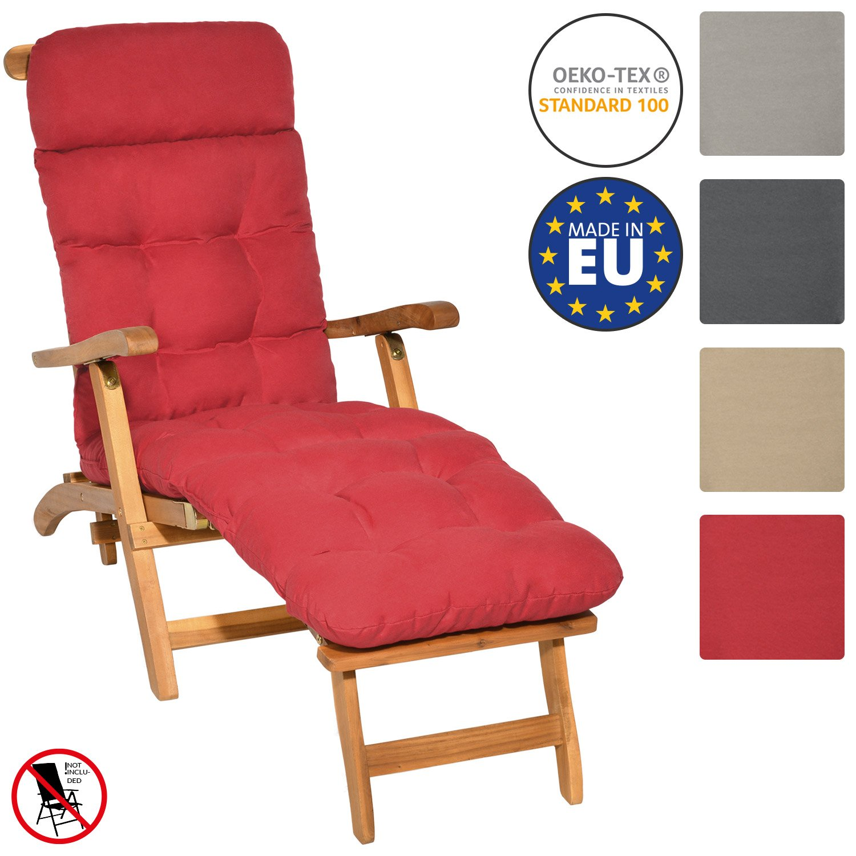 Beautissu Deckchair Cushion Flair DC Pad 200 x 50 x 8 cm Garden Recliner Steamer Chair Pad Patio Garden Natural