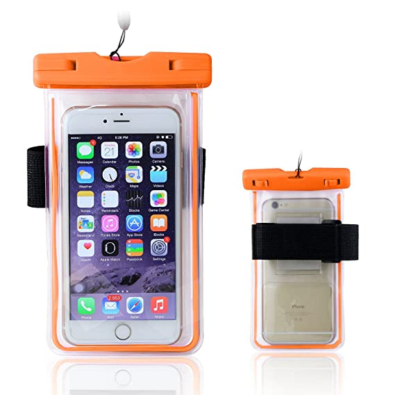 huge discount 492bb 7f81f Waterproof Case, Universal Luminous Waterproof Bag Pouch with Armband for  Iphone Samsung Galaxy Samsung Note, all phone up to 6.0