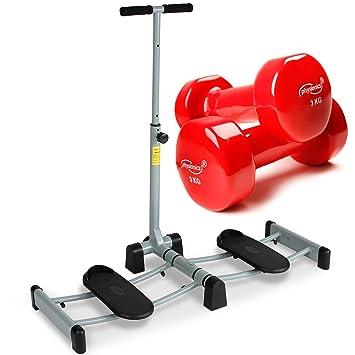 Physionics - Máquina de entrenamiento para tonificar las piernas con set de mancuernas de vinilo de color rojo (2 x 3 kg): Amazon.es: Deportes y aire libre