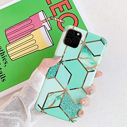 ikasus Case for iPhone 11 Pro Max Marble Case,Glossy Sparkle Girls Women Polished Plating Mosaic Marble Designed Flexible Soft Rubber Gel TPU Back Case Cover for iPhone 11 Pro Max Silicone Case,Green