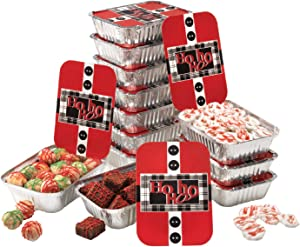 Gia's Kitchen Christmas Cookie Tins, 24 Piece, Set of 12 Foil Pans with Lids, Perfect Cookie Tins with Lids for Gift Giving- Santa's Belt Foil Rectangular