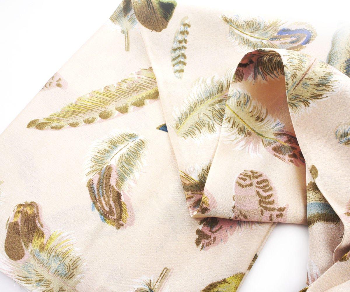 1pc Nude Rose de Plumes d'Oiseaux de l'Impression Maigre de Soie des Femmes Cravate Foulard Bandeau Pour le fait Main Et l'Artisanat 140 cm x 16 cm Czech Handmade Accessories 38855