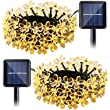 Qedertek Solar String Lights Flower, 2 Pack 22ft 50 LED Waterproof Outdoor Decoration Lighting for Patio, Lawn, Garden, Christmas, and Holiday Festivals ( Warm white)