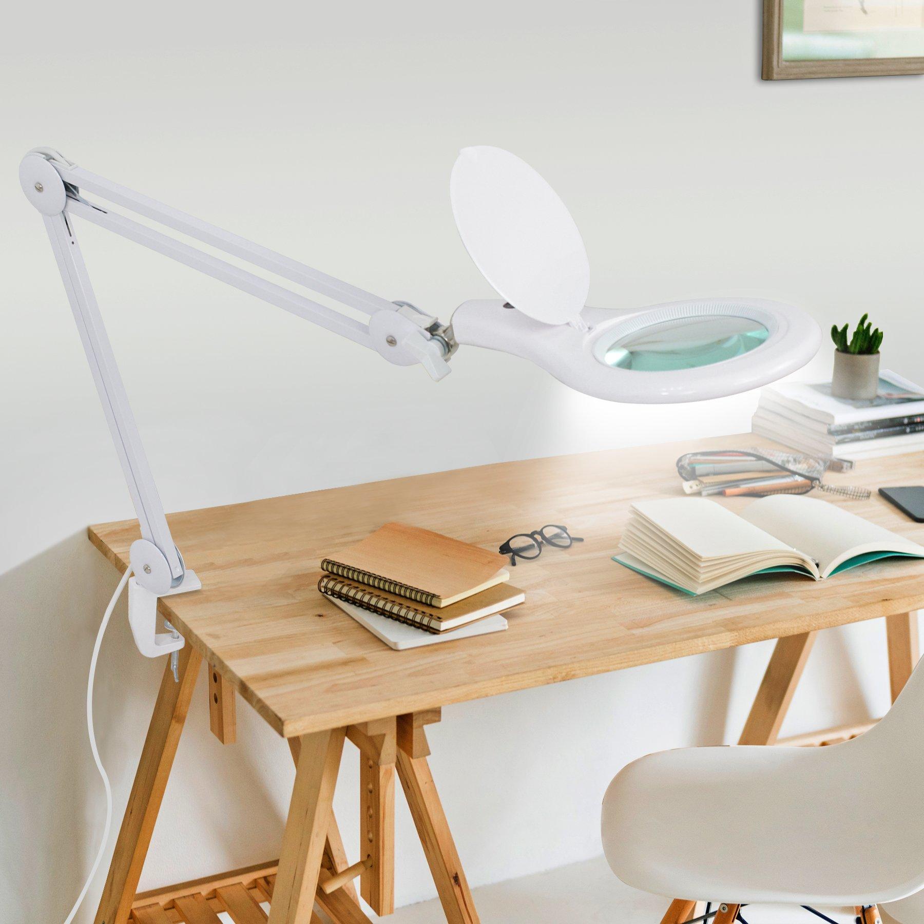 Super Deal PRO XL 2.25X LED Desk Clamp Magnifier Lamp - 56 SMD LED - Touch Sensor Switch - 360°Adjustable Swivel Arm - 225% Magnification - 5'' Lens - Desk Clamp Mount for Task Craft Or Workbench