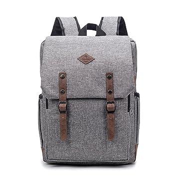 217f6ce03a48c Jxth Lässige Tasche mit großem Fach Vintage Männer Frauen Rucksack Daypack  wasserdicht Reißverschluss Leinwand Laptop