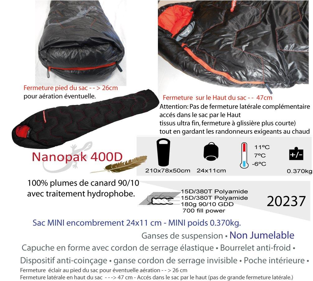 Freetime nanopak 400 d-Sac de Dormir Acolchado Pluma, Saco de Dormir Ligero 380 grs.: Amazon.es: Deportes y aire libre