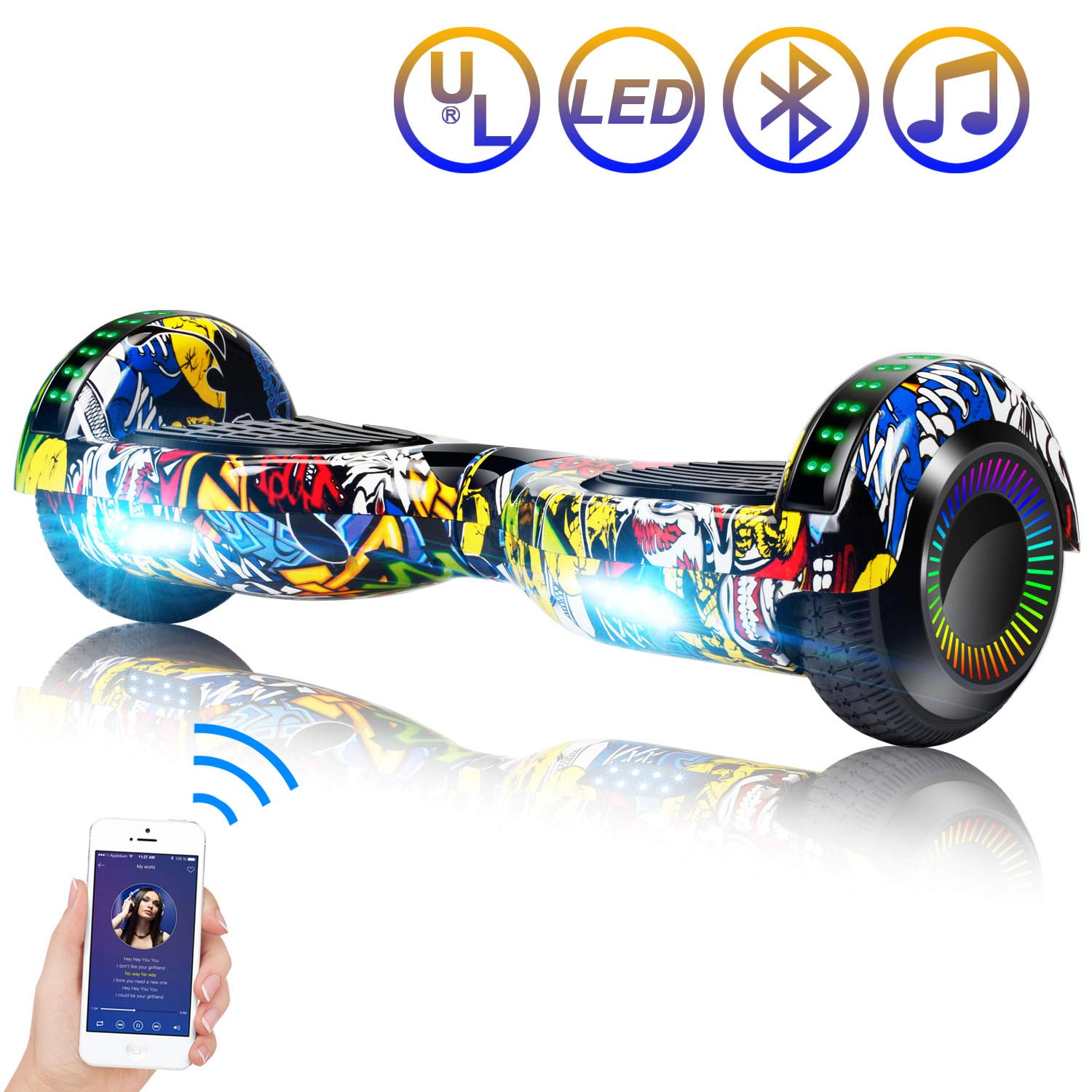 SISIGAD Hoverboard Self Balancing Scooter 6.5'' Two-Wheel Self Balancing Hoverboard with Bluetooth Speaker and LED Lights Electric Scooter for Adult Kids Gift UL 2272 Certified Fun Edition - Graffiti