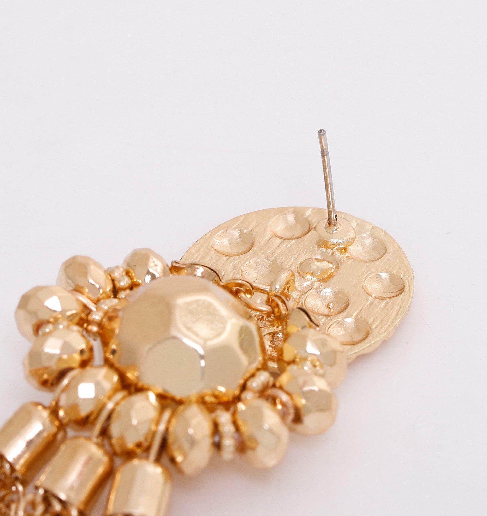 Bohemian Statement Tassel Chandelier Drop Dangle Earrings with Cassandra Button Stud (gold) by LPON (Image #6)