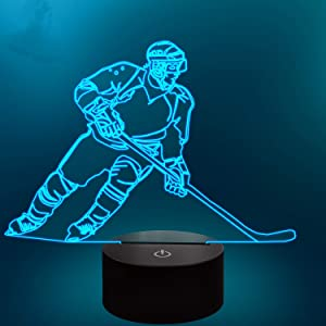 Lampeez Ice Hockey Player 3D Night Lights for Kids 7 LED Colors Changing Touch Table Desk Lamp Birthday Xmas Gifts Home Decor for Sports Hockey Fan