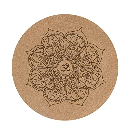 MXK Tapete De Yoga Redondo Pequeño De Corcho - Alfombra Antideslizante De Meditación De Caucho Natural - 60X60X0.3cm Alfombra Doméstica