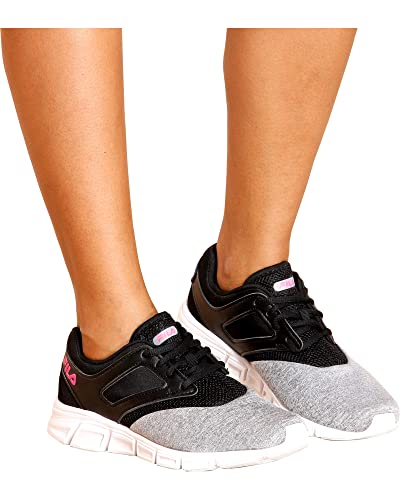 34ab9c61aca9 Fila Women s O-Ray Running Monument Heather Black Knockout Pink 6 ...