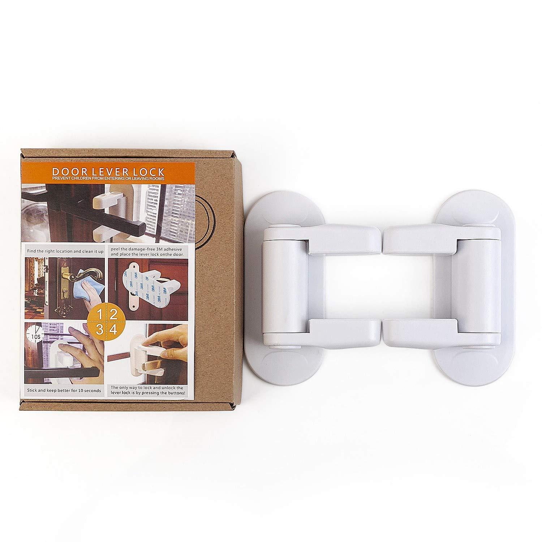 2 Pack Door Lever Lock Child Proof Safety Door Locks Baby Safety Door Lock with 3M Adhesive