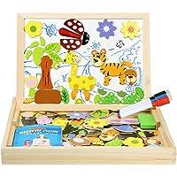 InnooTech Puzzle en Bois Magnétiques Animal, Aimants Puzzles avec cadre| Planche à Dessin avec 3 Stylos Colorés 100 Pièces avec Tableau Noir - Jeux et Jouets Cadeau pour les enfants 3 ans