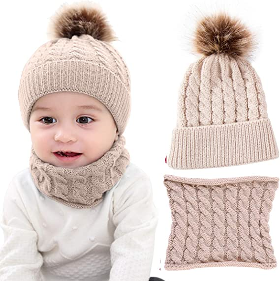 2PCS Toddler Baby Knit Hat Scarf Winter Warm Beanie Cap with Circle Loop Scarf Neckwarmer for Boys Girls