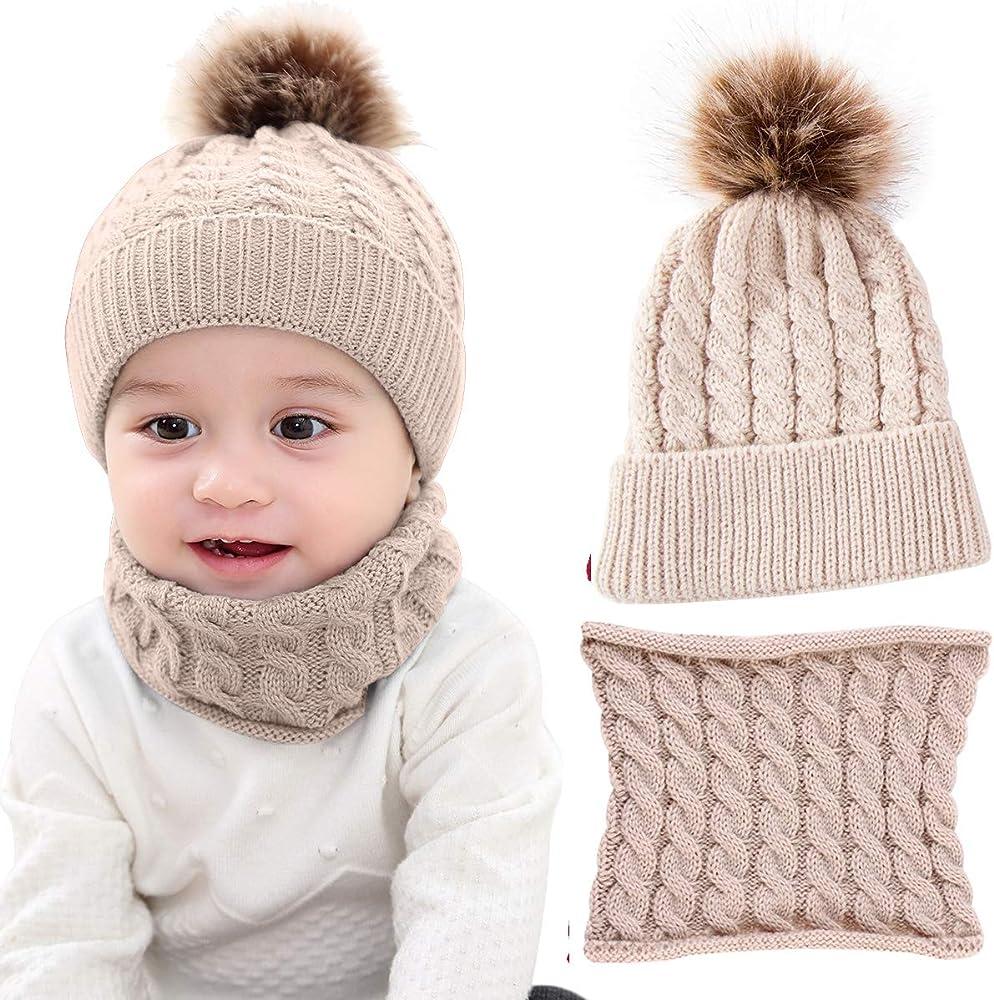 1 Set Baby Boy Girls Winter Warm Pom Bobble Beanie Ski Hat Cap Scarf Scarves