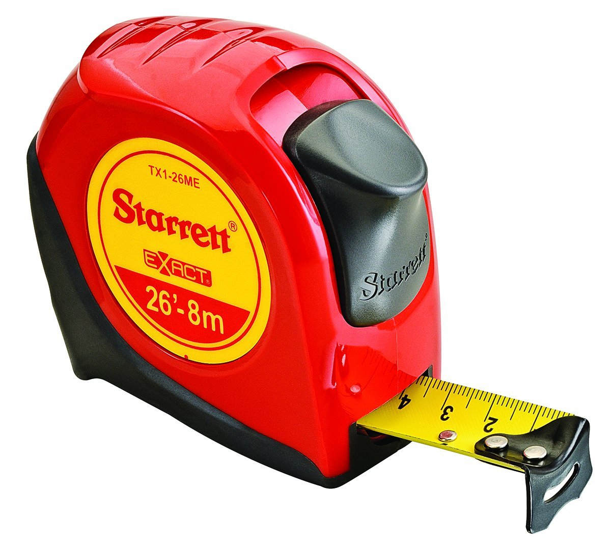 Starrett KTX1-26ME-N-SP01 Exact English/Metric Tape Measure, 1'' Wide x 26' (8 m) Long, Graduated in 1/16'' with Over molding for Improved Grip
