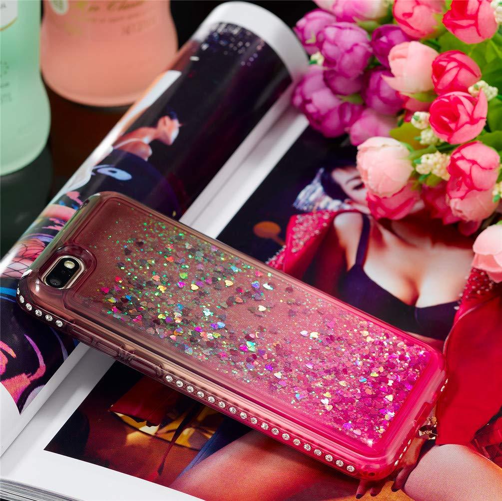2x Coque pour Huawei Y5 2018 Bleu Violet Rose Etui El/égant Diamant Bling Silicone Sables Mouvants TPU Quicksand Souple Protecteur Housse Luxueux