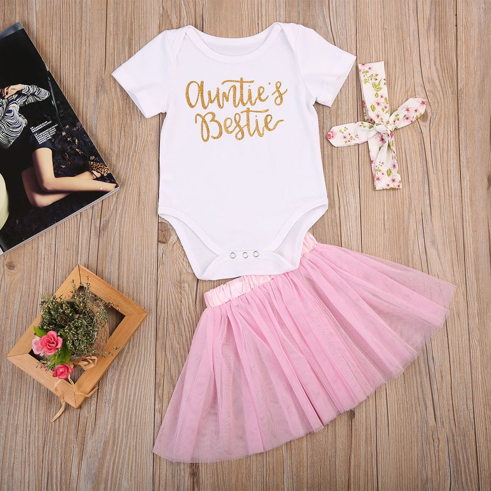 f984256f00 Amazon.com: 3Pcs/Set Newborn Baby Girl Summer Outfit Auntie Bodysuit Romper  with Headband+Pink Tutu Skirt Clothes: Clothing