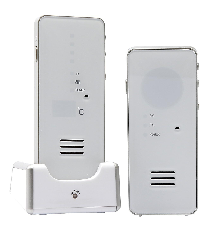 Hartig + Helling MBF 8181 Digitales Babyruf-Gerät (500 m Reichweite, Strahlungsarm, GegensprechFunktion, Babyfon, Babyphone Mit Hoher Reichweite, Temperaturanzeige und Batteriebetrieb) weiß 40014