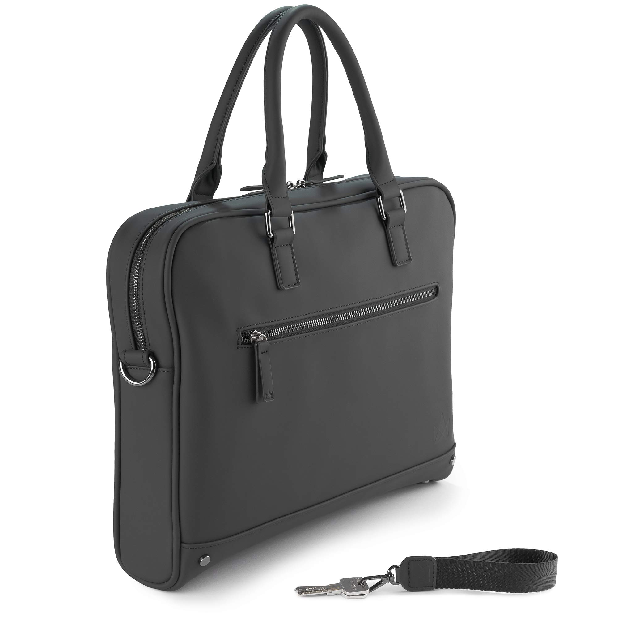The Friendly Swede 13 inch Slim Laptop Bag for Women and Men - Shoulder Strap, Minimalist Notebook Executive Computer Case Business Briefcase, Vegan PU - VRETA by The Friendly Swede (Image #2)