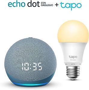 Echo Dot (4ª generazione) con orologio, Ceruleo + TP-Link Tapo White Lampadina Connessa (E27), compatibile con Alexa