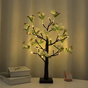 Artificial Magnolia Alba Flower Tree Lamp Indoor Home Decor Springtime Tabletop with Blooming Flower LED Light Home Decoration for Bedroom Party Wedding
